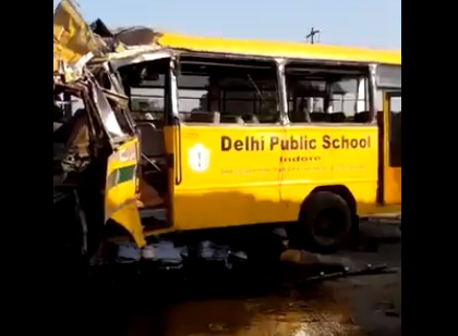 School bus  DPS School  Accident  Indore  Madhya Pradesh  Mishap  Children  Students  Bus accident